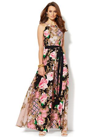 NY&C: Multi-Print Maxi Dress - Petite