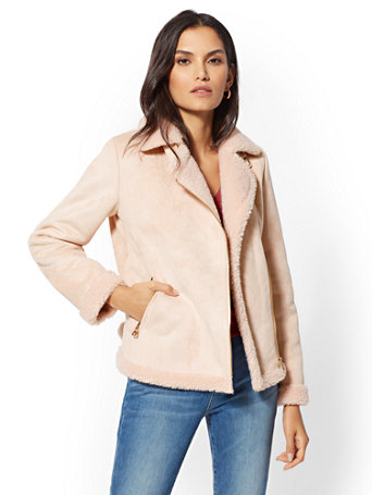Peach Faux Shearling Moto Jacket by New York & Company