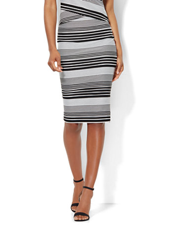 ny c pencil skirt black white stripe