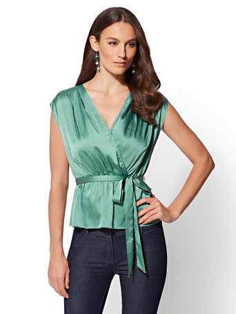Petite Tie Front Wrap Blouse by New York & Company