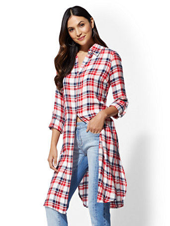Red Plaid Maxi Shirt by New York & Company
