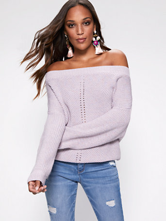 Shimmering Bateau Neck Dolman Sweater by New York & Company