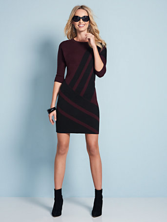 Stripe Dolman Sweater Dress by New York & Company