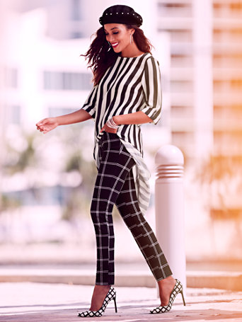 Sweet Pea   Stripe Hi Lo Tunic Blouse by New York & Company