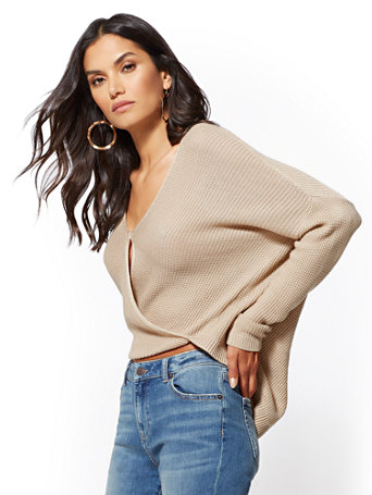 Textured Wrap Sweater by New York & Company