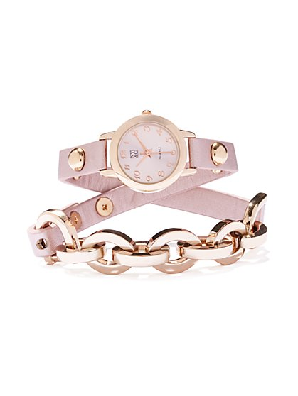 Double-Wrap Metallic Watch