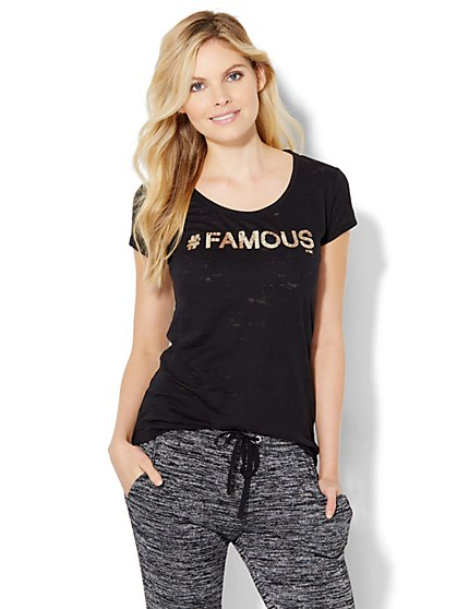 """#Famous"" Sequin Logo Tee  - New York & Company"