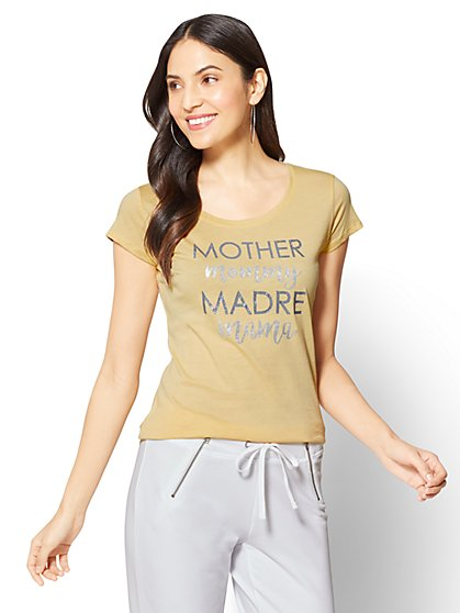 """Mother, Mommy, Madre, Mama"" Graphic Logo Tee - New York & Company"