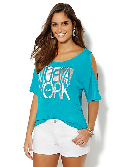 ''Nueva York'' Cold-Shoulder Tee  - New York & Company