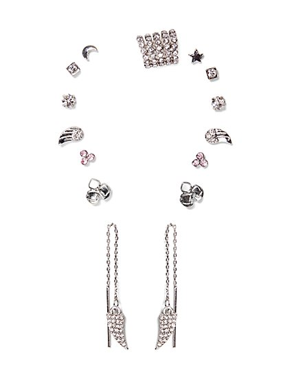 10-Piece Mixed-Metal Earring Set  - New York & Company