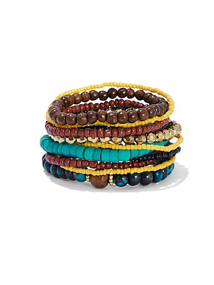 11-Row Beaded Stretch Bracelet  - New York & Company
