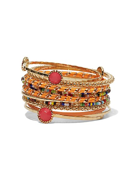 12-Piece Beaded Bangle Bracelet Set  - New York & Company