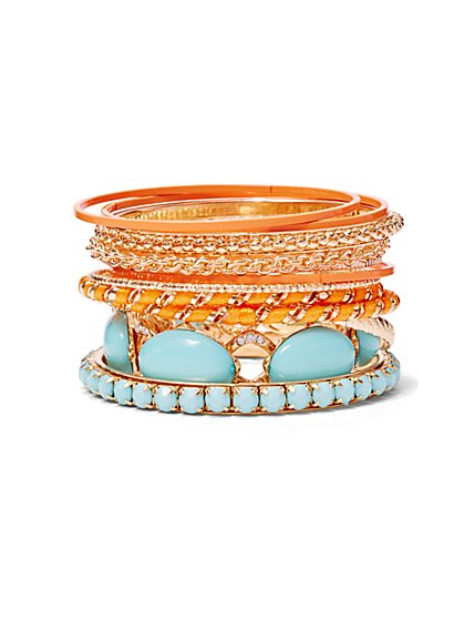 12-Piece Coral & Turquoise Bangle Bracelet Set  - New York & Company