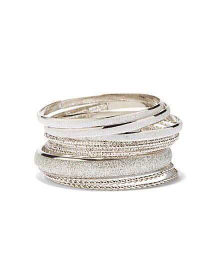 12-Piece Silvertone Bangle Set  - New York & Company