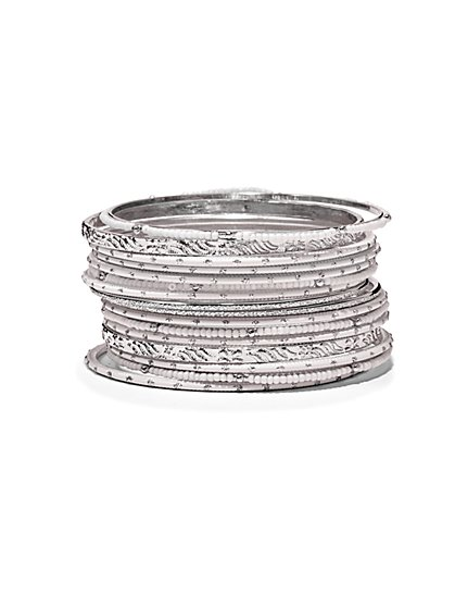17-Piece Silvertone Bangle Bracelet Set  - New York & Company