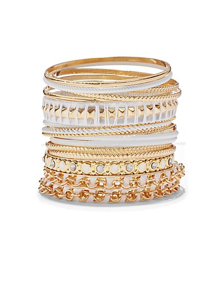 18-Piece Goldtone Bangle Bracelet Set  - New York & Company