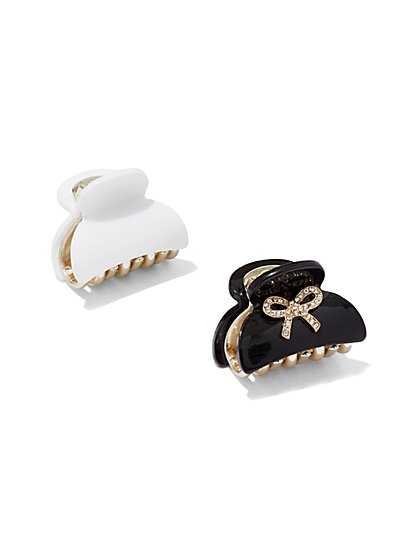 2-Piece Black & White Hair Clip Set  - New York & Company