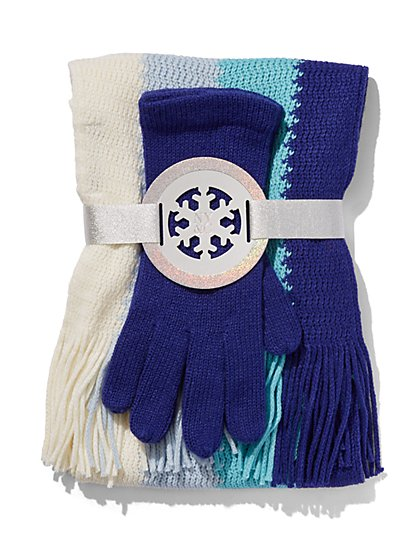 2-Piece Colorblock Scarf & Gloves Set - New York & Company