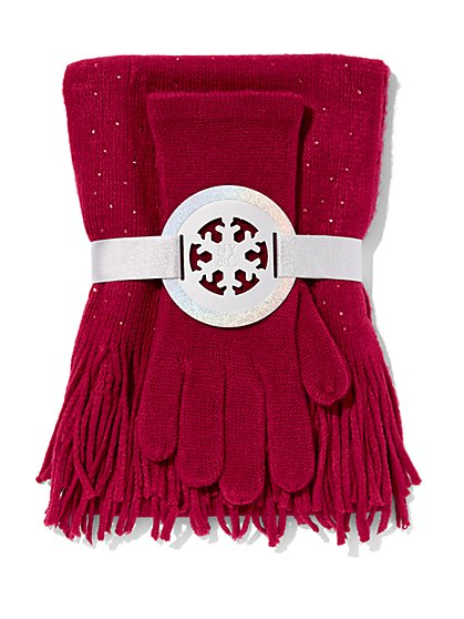 2-Piece Embellished Scarf & Gloves Set - New York & Company