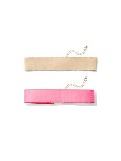 2-Piece Ribbon Choker Necklace Set  - New York & Company