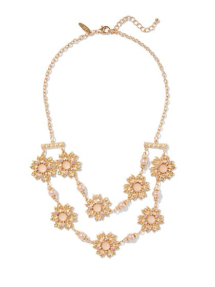 2-Row Floral Statement  Necklace  - New York & Company