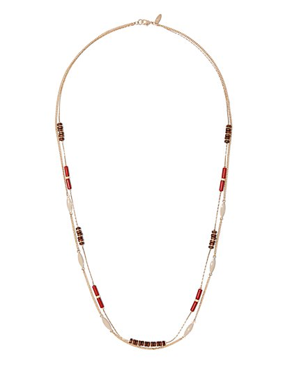 2-Row Goldtone Beaded Necklace  - New York & Company