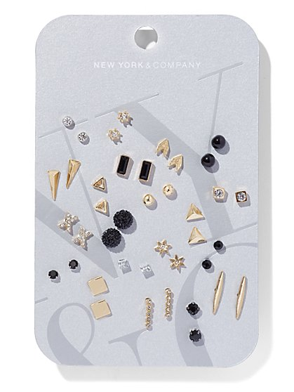 20-Piece Goldtone Post Earring Set  - New York & Company