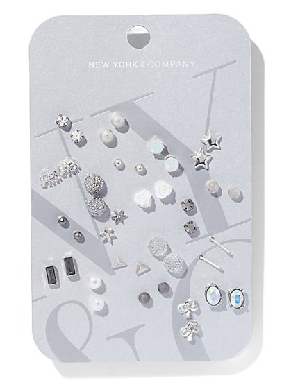 20-Piece Silvertone Post Earring Set  - New York & Company