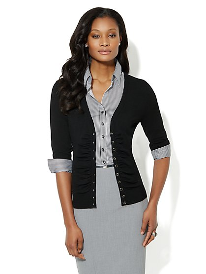3/4-Sleeve Shirred Front Cardigan