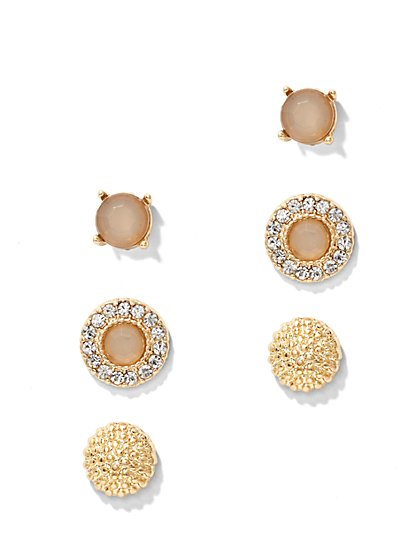 3-Piece Beaded Post Earring Set  - New York & Company