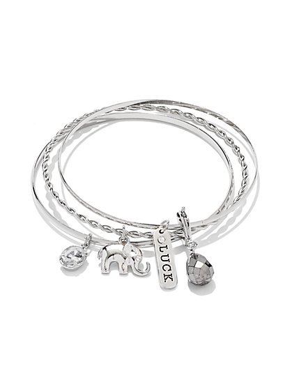 3-Piece Elephant Charm Bracelet Set - New York & Company