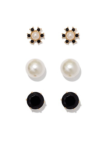 3-Piece Faux-Pearl Post Earring Set  - New York & Company