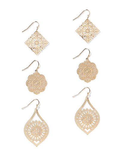 3-Piece Filigree Drop Earring Set   - New York & Company