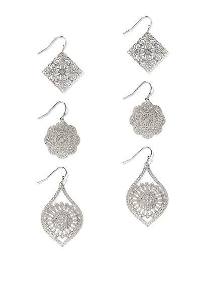 3-Piece Filigree Drop Earring Set   - New York & Company
