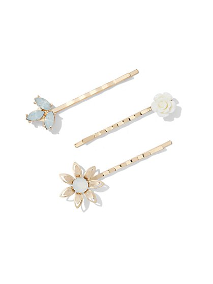 3-Piece Floral Barrette Set  - New York & Company