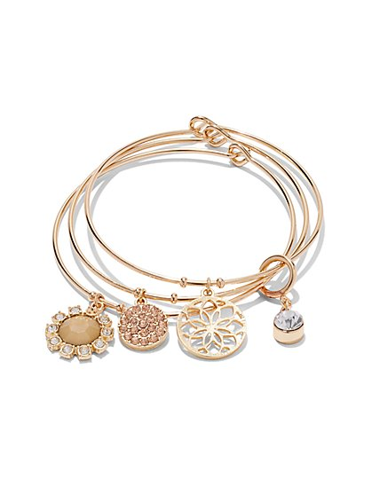 3-Piece Floral Charm Bracelet Set   - New York & Company