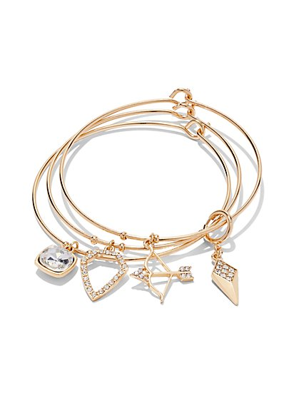 3-Piece Geo Charm Bracelet Set  - New York & Company
