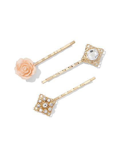 3-Piece Goldtone Barrette Set  - New York & Company