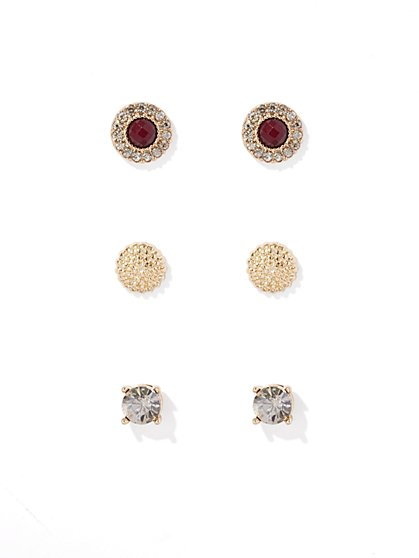 3-Piece Goldtone Post Earring Set  - New York & Company