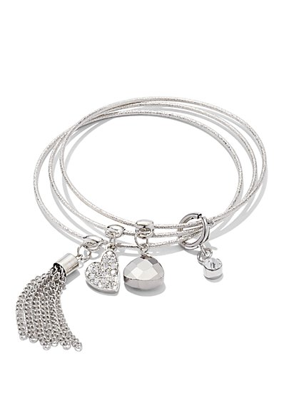 3-Piece Heart Charm Bracelet Set   - New York & Company