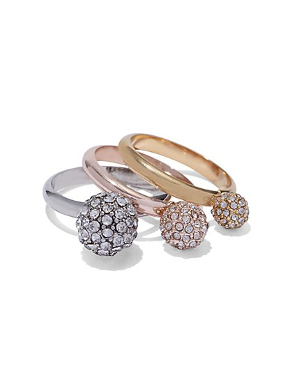 3-Piece Pavé Ring Set  - New York & Company