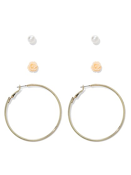 3-Piece Post & Hoop Earring Set  - New York & Company