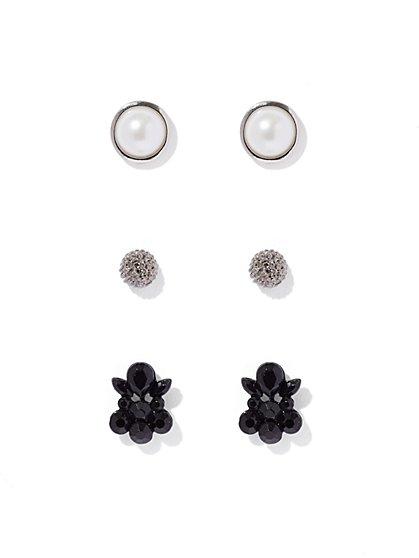 3-Piece Silvertone Post Earring Set  - New York & Company