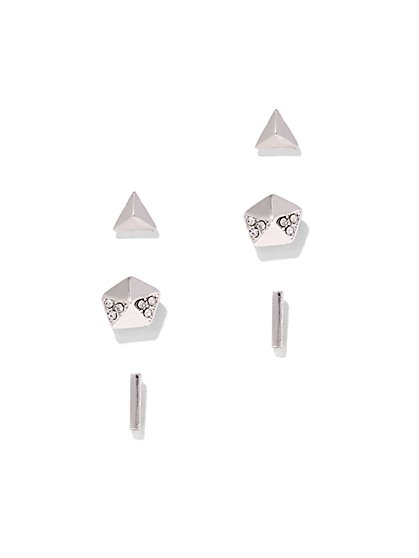 3-Piece Silvertone Post Earring Set  - New York & Company