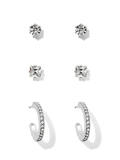 3-Piece Sparkling Faux-Stone Earring Set  - New York & Company