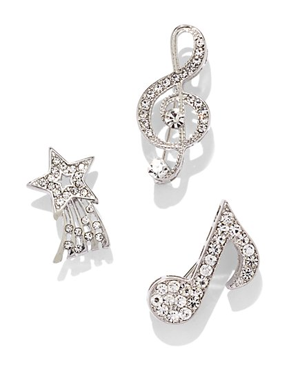 3-Piece Sparkling Musical Pin Set  - New York & Company