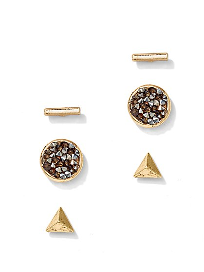 3-Piece Sparkling Post Earring Set  - New York & Company
