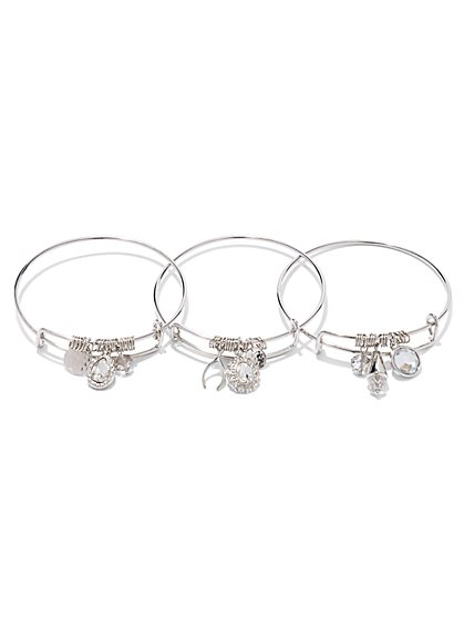 3-Piece Wishbone Charm Bracelet Set   - New York & Company