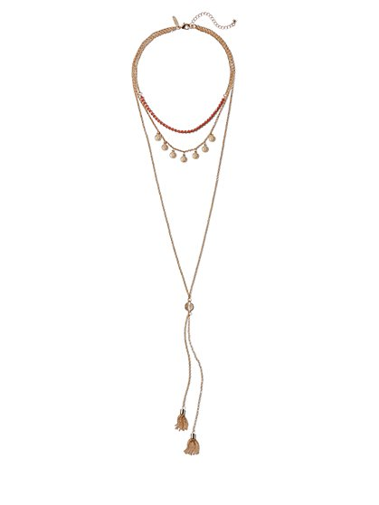 3-Row Beaded Bolo Necklace  - New York & Company