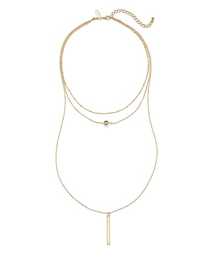 3-Row Double-Pendant Necklace  - New York & Company